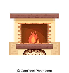 Vector fireplace icon logo design in flat style. Fire warm, Cozy Home interior - stock vector illustration