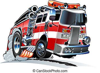 vector, firetruck, caricatura