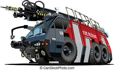 vector, firetruck, spotprent