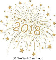 Vector firework with happy new year 2018 on white background
