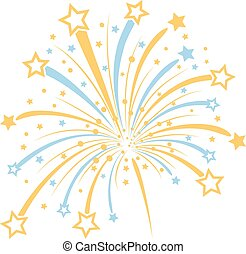 Vector firework with yellow and blue stars on white...