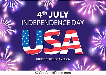 vector Fireworks background for 4th of July Independense Day. Fourth of July Independence Day card. Independence day fireworks. Independence day celebrate. Independence Day . USA Independence Day vector