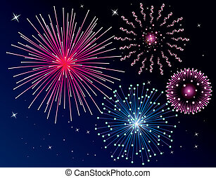 fireworks - vector fireworks background. Four types.