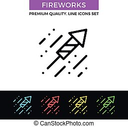 Vector fireworks icon. Thin line icon