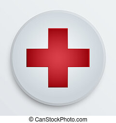 Vector first aid medical button symbol