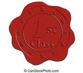 Vector First Class Red Wax Seal