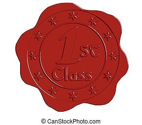 Vector First Class Red Wax Seal
