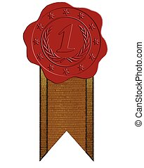 Vector First Place Red Wax Seal with Ribbon - Vector First...