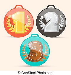 Vector First Second and Third Place Retro Medals Set