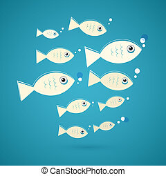 Vector Fish Illustration on Blue Background