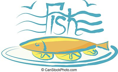 Vector Fish - vector fish with calligraphic inscription and...