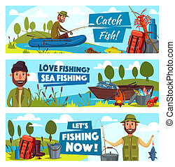 Vector fisherman and big fish catch