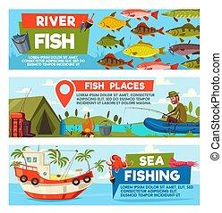Vector fisherman on fishing cartoon banners