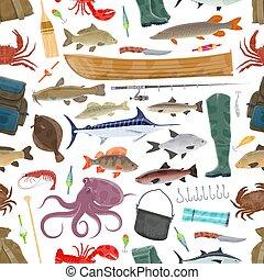Vector fisherman sport and fishing fish pattern