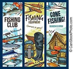 Vector fisherman sport club fishing sketch banners