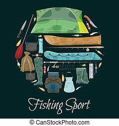 Vector fisherman sport fishing club poster