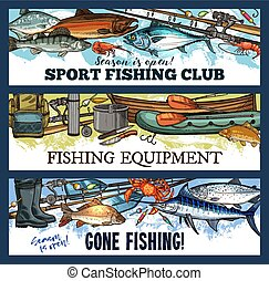 Vector fisherman sport fishing club sketch banners