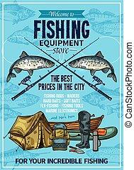 Vector fisherman sport fishing equipement poster