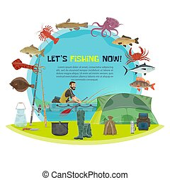Vector fisherman sport fishing poster