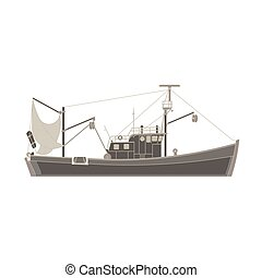 Vector fishing boat flat icon isolated