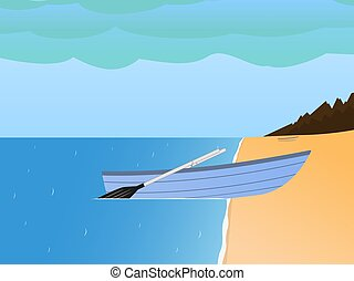 Vector fishing boat on a sandy beach and sea - Vector...