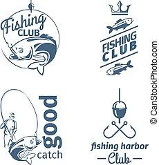 Vector fishing club emblems