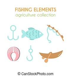 Vector fishing elements. Boat with paddles illustration. Salmon steak. Fishing rod in cartoon style. Flat argiculture collection.