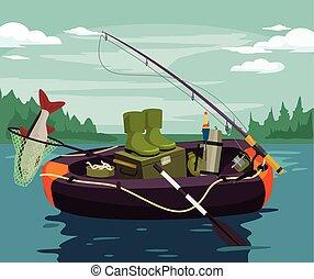 Vector fishing flat illustration