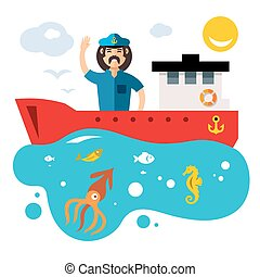 Vector Fishing. Flat style colorful Cartoon illustration.