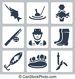 Vector fishing icons set: fish on a hook, float, big fish,...