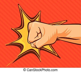 Vector fist flat illustration