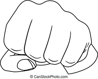 Vector Fist Hand, Outline Drawing, Black Lines Isolated on White Background.