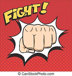 Vector fist punching illustration with FIGHT word in pop-art style.