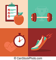 Vector fitness icons in flat trendy style - healthy food and...
