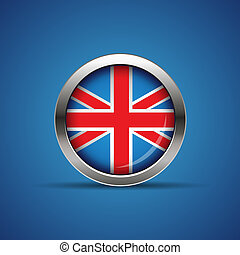 Vector flag button - United Kingdom