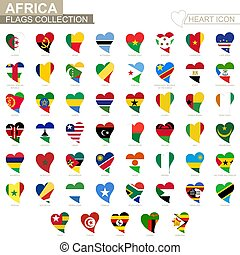 Vector flag collection of African countries. Heart icon set.