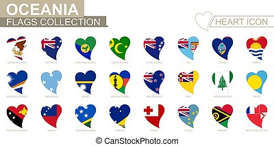 Vector flag collection of Oceanian countries. Heart icon set.