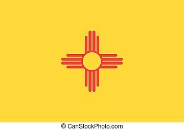 Vector flag illustration of New Mexico state, United States of America