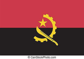 Vector flag of  Angola