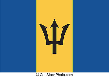 Vector flag of Barbados  on a white background