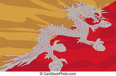 Vector flag of Bhutan