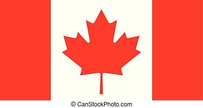 Vector flag of Canada in white and red colors with maple leaf symbol. Canada official flag since 1965. Canadian flag proportions 1:2