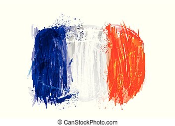 Vector flag of France made with colorful splashes. Paint smears, grunge texture.