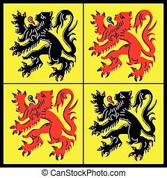 Vector flag of Hainaut Belgian province, Walloon region