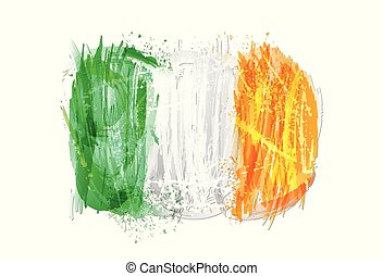 Vector flag of Ireland made with colorful splashes. Paint smears, grunge texture.