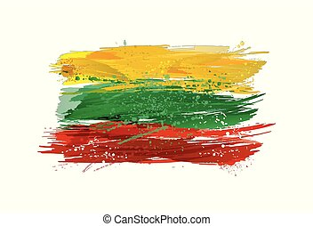 Vector flag of Lithuania made with colorful splashes. Paint smears, grunge texture.