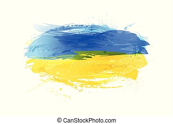 Vector flag of Ukraine made with colorful splashes. Paint smears, grunge texture.