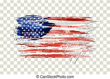 Vector flag of USA made with colorful splashes on transparent background. Paint smears, grunge texture.