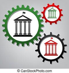 vector., flag., tres, edificio, histórico, ingenio, conectado, engranajes