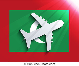 Vector flag with airplane. Travel background. Eps 10